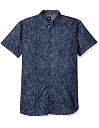 Boss Orange Men's Short Sleeve Banana Leaf Chambray Shirt
