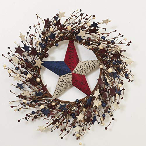 Patriotic Door - One Holiday Way 22 Inch Patriotic Red, White and Blue Berry and Metal Star Twig Wreath - 4th of July Decoration Front Door Wreath