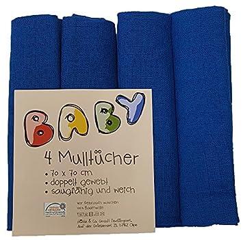 Mullwindeln // Spucktücher // Mulltücher 6er Pack weiß//hellblau 70x70 cm