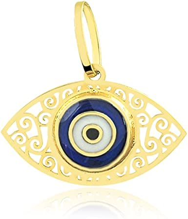 14K Real Solid Yellow Gold Evil Eye Heart Pend For Men Women Evil Eye Heart Pend