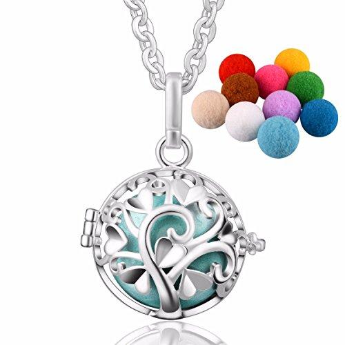 [Eudora Aroma Harmony Bola Pendant Perfume Necklace Fragrant Diffuser 30 inches Chain Silver Plated] (Angel Locket)