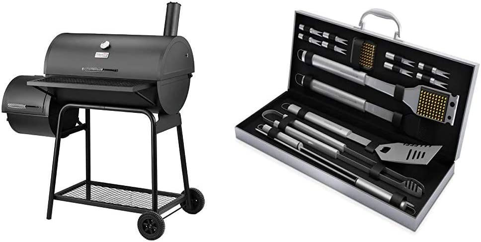 Royal Gourmet CC1830F Charcoal Grill with Offset Smoker, Black & Home-Complete BBQ Grill Tool Set- 16 Piece Stainless Steel Barbecue Grilling Accessories with Aluminum Case, Spatula, Tongs, Skewers