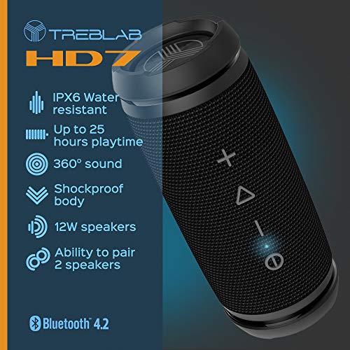 TREBLAB HD7 - Mini Portable Bluetooth Speaker Wireless - 12W Stereo, 360°HD Sound w/Bass, TWS Dual Pairing, w/Mic… 3