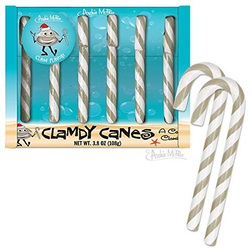 Clam Candy Canes - Everyone Needs Clamdy Canes - One shell of a - White Candy Cane