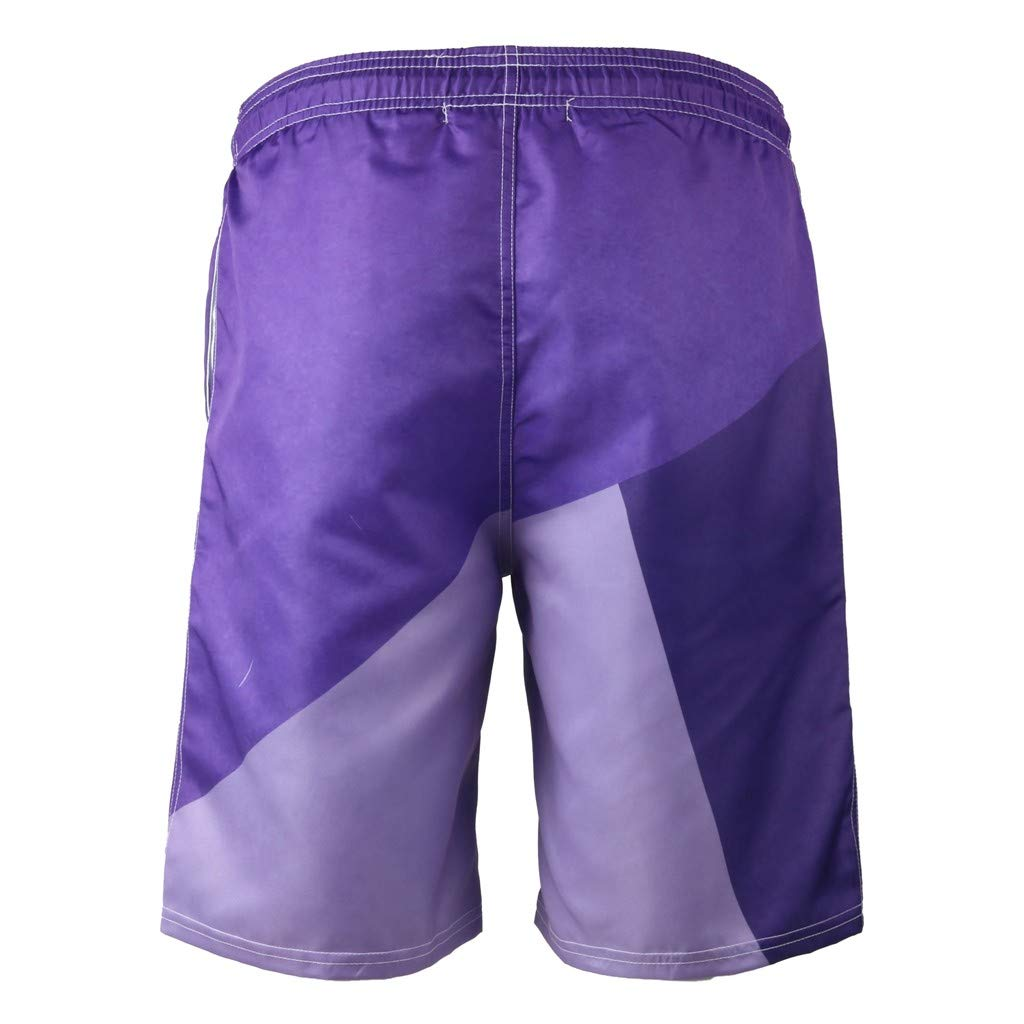 NUWFOR Men's Summer Fashion 3D Printed Shorts Recreational Sports Beach Pants(Purple,US L Waist:35.83'') by NUWFOR (Image #2)