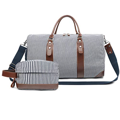 Oflamn Large Duffle Bag Canvas Leather Weekender Overnight Travel Carry On Tote Bag with Shoe Compartment and Toiletry Bag (Blue/White Striped)