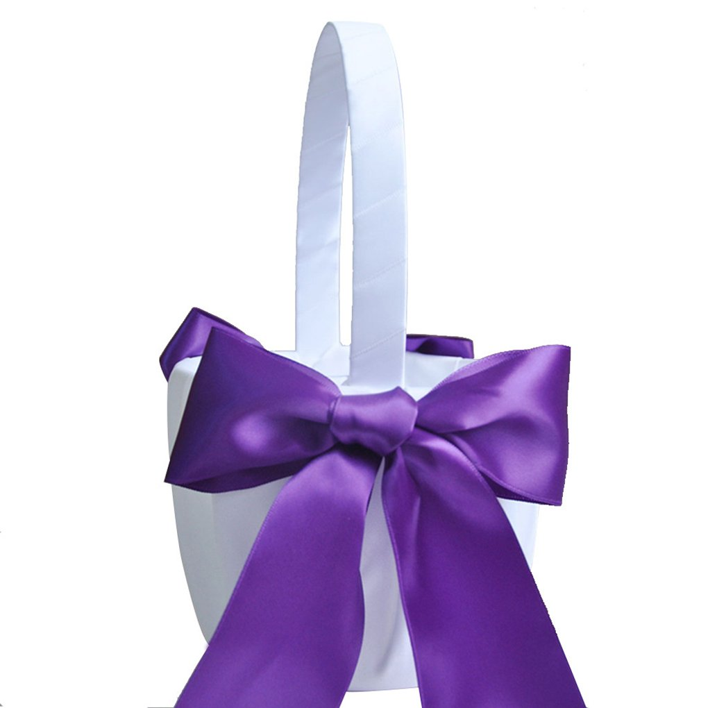 MuLuo Romantic Bowknot Satin Wedding Ceremony Flower Girl Basket Bowknot Decor purple