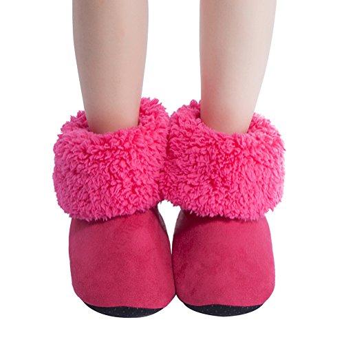Maamgic Kvinners Fuzzy Jule Huset Tøfler Damene Søt Soverom Innendørs Vinter Myke Tøfler Hot Pink