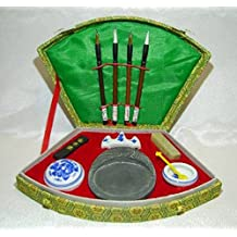 Chinese Calligraphy Set for Chinese writings: brushes, ink stick, stone by Feng Shui Import