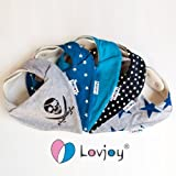 Lovjoy Bandana Bibs - Pack of 5 Boy Designs (Simply Blue)