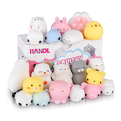 Premium Cute Squishy Toy Set - Mini Animal Kawaii Squishies For Children & Adults - Great Stress & Anxiety Relief Benefits - Great Gift Idea! - 20 pcs (Mouse Relieving Stress)