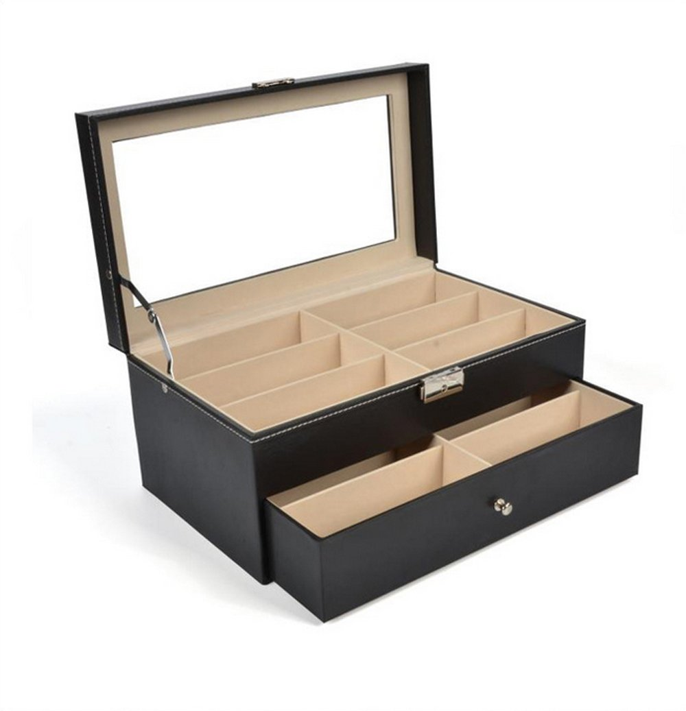 Siveit 12 Grids Sunglass Organizer Leather Eyeglasses Collector Double-Layer Eyewear Display Case Lockable Storage Box