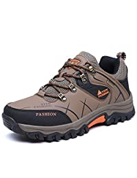 Wodun Mens Leather Hiking Boots Waterproof Trekking Boots Trails Shoes for Outdoor/Travel/ Walking/Camping