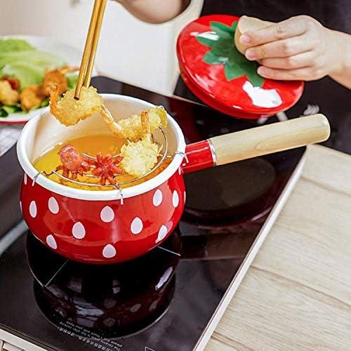 LEILEI Pot de Lait d'émail de Fraise Mignon 1.5L,Pot de complément Alimentaire pour bébé avec poignée en Bois Anti-brûlure,Fait à la Main