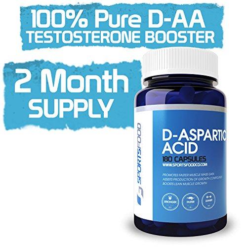 D-аспарагиновая кислота 1000 мг х 180 Caps, 100% Pure & Мощный Тестостерон Booster, 60-дневный запас