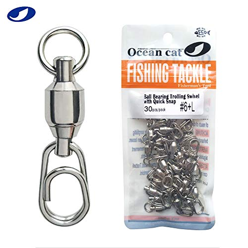 OCEAN CAT 30-150 Pcs Ball Bearing Fishing Swivel with Fast/Quick Snap 100% Copper Body Stainless Steel Fishing Welded Ring Saltwater Freshwater Standard High Strength 88-132lb (#4+S (27mm), 60 Pcs)
