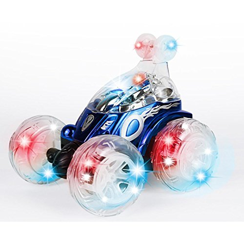 Woshishei New 360°Spinning And Flips With Color Flash & Music for Kids Remote Control Truck - Blue Cool Truck