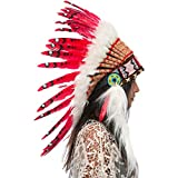 Feather Headdress- Native American Indian Style- Handmade by Artisan Halloween Costume for Men Women with Real Feathers - Red Duck