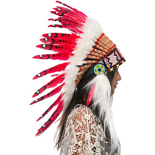 Feather Headdress- Native American Indian Style- Handmade by Artisan Halloween Costume for Men Women with Real Feathers - Red -
