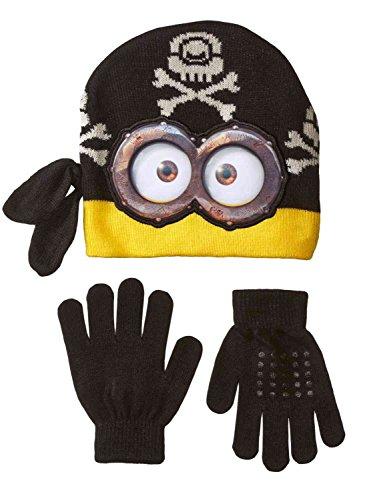 [Despicable Me Boys Black Minion Pirate Winter Hat & Gloves Beanie Set] (Despicable Me Minion Hats)