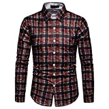 NUWFOR Men's Long Sleeve Lattice Plaid Painting Large Size Casual Top Blouse Shirts(Red,XL US/3XL AS Bust:43.2'')
