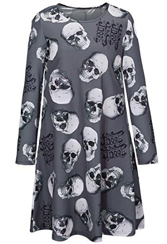Earnest Women's Loose Halloween Long Sleeve Flare Mini Dress 11 (Coloured Contacts Halloween)