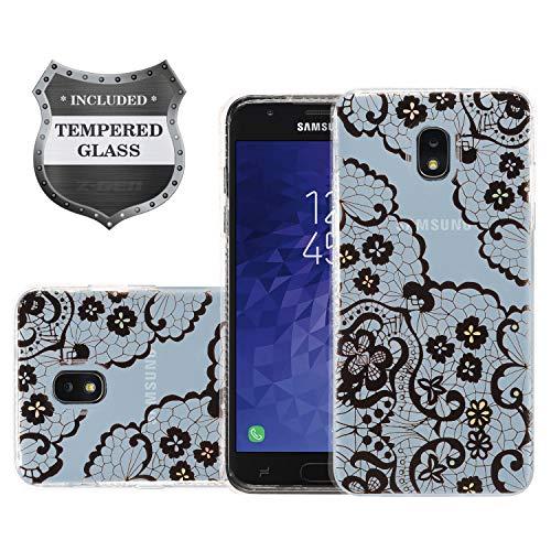 Z-GEN - Galaxy J3 2018 J3 Star/Achieve/Aura/Orbit, Sol3, Express Prime 3, Amp Prime 3, J3 V J3V 3rd Gen J337 - Clear Image Case for Samsung + Tempered Glass Screen Protector - AC1 Flower Laces