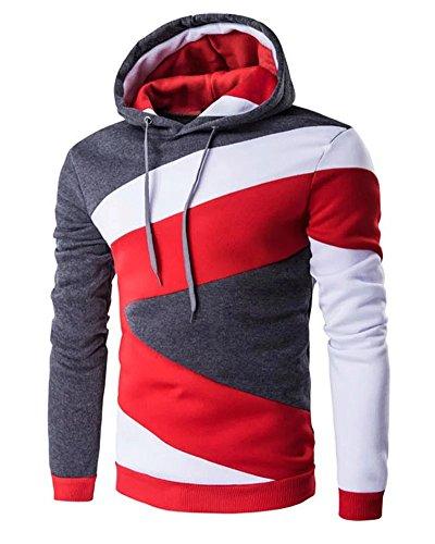 Kmety Men's Novelty Color Block Hoodies Cozy Sport Autumn Outwear Grey