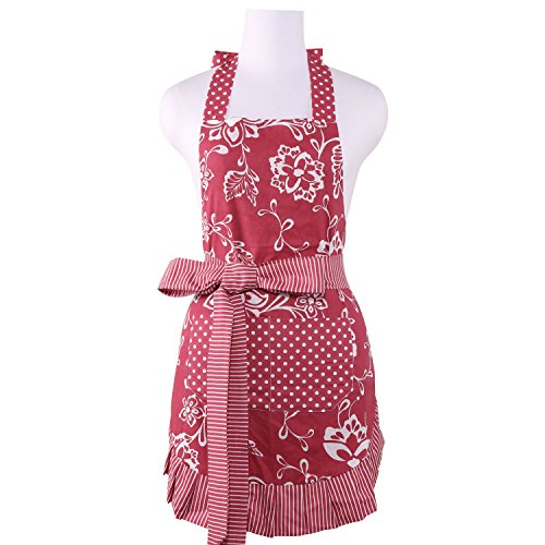 en Apron for Women with Pockets and Ruffles, Style Kathy, Floral Aurora Red ()