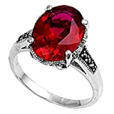 14mm Sterling Silver Oval Red Simulated Ruby Marcasite ring