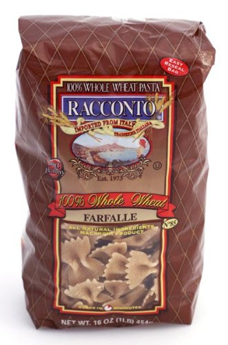 Racconto Whole Wheat Farfalle/Bow Ties, 16-Ounce Packages (Pack of 12) by Racconto