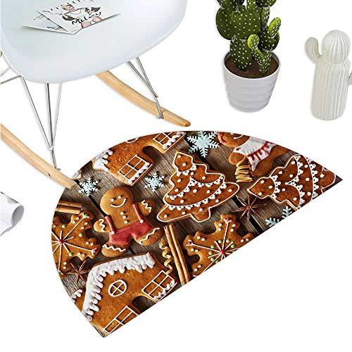 - Gingerbread Man Half Round Door mats Tasty Looking Traditional Cookies Little Snowflakes Cinnamon Bathroom Mat H 27.5