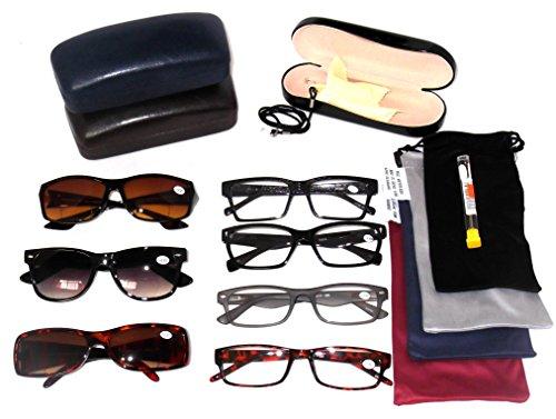 READING GLASSES Fashionable Plastic Men's Styles Wholesale Price Lot 5 Pack EYEGLASSES 4 Clear 1 Bifocal Sunglasses 4 Soft Pouches 1 Hard Case 1 Cord 1 Screwdriver Set 12 ()