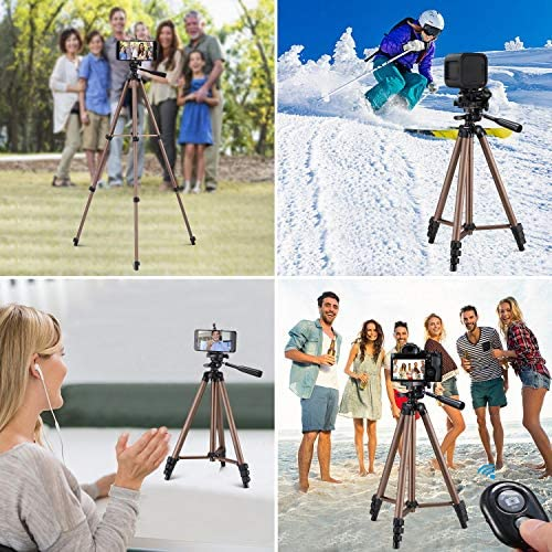 Kwithan 50 Inch Aluminum Tripod, Video Tripod for Cellphone and Camera, Universal Tripod with Wireless Remote & Cellphone Holder Mount for All Smart Phone, Gopro