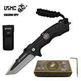 8.25'' USMC Officially Licensed US Marines ALL BLACK Ball Bearing Action Blade Tactical Rescue Pocket Knife Belt Case