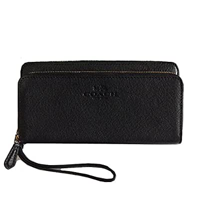 Coach Pebbled Leather Double Accordion Zip Wallet and Clutch