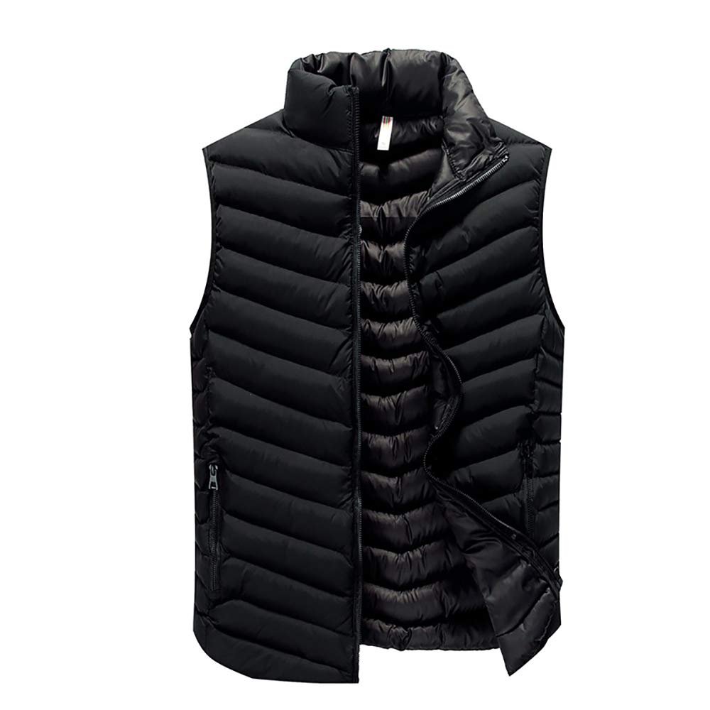 BESHU Warm Vest for Men, Simple Casual Sleeveless Breathable Vest Made of - Quilted Vest Outdoor Vest with Stand-up Collar