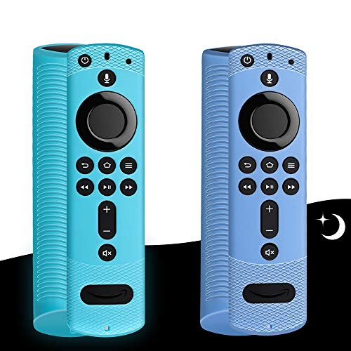 2 Pack Luminous Effect Remote Cover with Lanyard for Fire TV Stick 4K Shockproof Silicone Remote Case for Fire TV Cube…