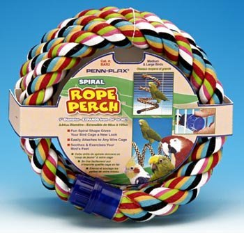 Penn Plax BAR2 Spiral Rope Perch for Medium / Large Birds by Penn Plax
