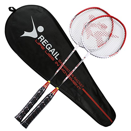 YJONS 2 Pack Trained Badminton Rackets, Sports Carbon Fiber Lightweight Badminton Racquet, for Professional & Beginner Players (red)