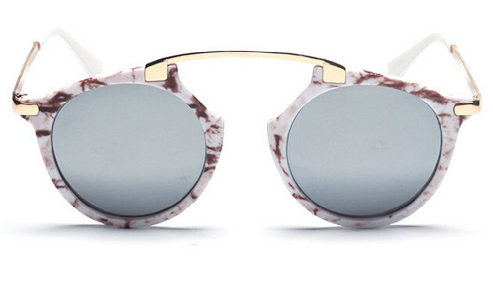 GAMT Brand Colorful Oval Sunglasses Fashion Round Eyewear Metal Frame for Men and Women Silver