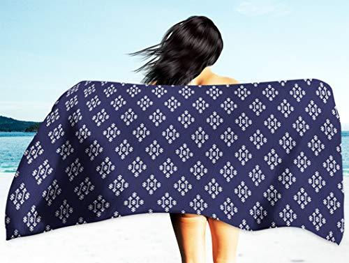 Kutita Ethnic Pattern Travel Beach Towel 30X60 Inch, Geometric Ethnic Traditional Wallpaper Clothing Batik Fabric Fast Dry Sand Free Microfiber Beach Towel Blanket Swim Camping