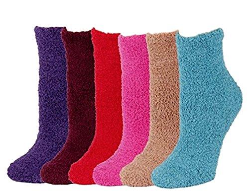 I&S 6 Pairs Womens Cozy Fuzzy Socks, Super Soft Warm Slipper Crew Winter Thick Socks