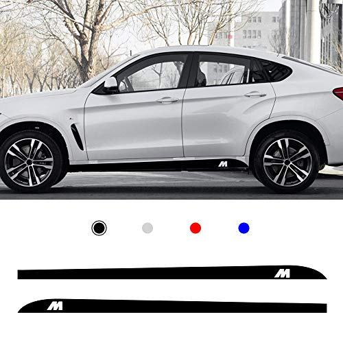 (carado Racing Body Side Stripe Skirt Roof Hood Decal Sticker for BMW 1 2 3 4 5 6 7 Series X1 X3 X4 X5 M Sport Vinyl Sport Badge Car Styling Accessories Black 1 Pair)