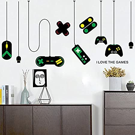 Amazon Com Amaonm Removable Creative Game Controllers Vinyl Wall Decal Peel Stick Art Decor Games Wall Stickers For Kids Children Boy Bedroom Playroom Nursery Walls Background Decoration 31 H X 55 W Arts Crafts
