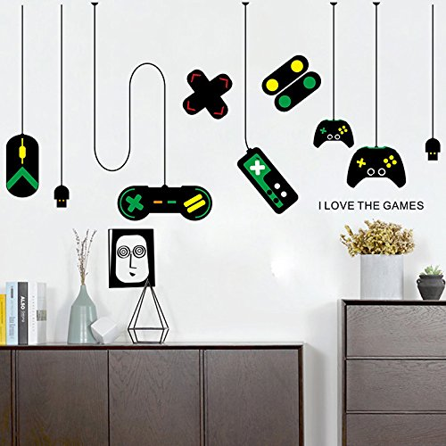 Amaonm Removable Creative Game Controllers Vinyl Wall Decal Peel & Stick Art Decor Games Wall Stickers for Kids Children Boy Bedroom Playroom Nursery Walls Background Decoration (31