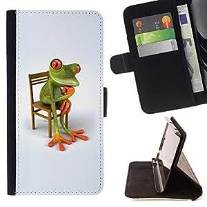 ForSamsung Galaxy S3 MINI i8190 (NOT S3) Case , Filosofía de la rana blanca minimalista Wonder- la tarjeta de Crédito Slots PU Funda de cuero Monedero caso cubierta de piel