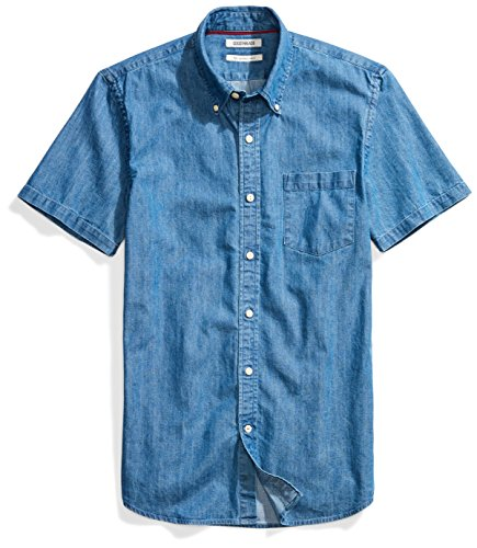Goodthreads Men's Slim-Fit Short-Sleeve Denim Shirt, Medium Blue, - Short Sleeve Shirt Cotton Denim