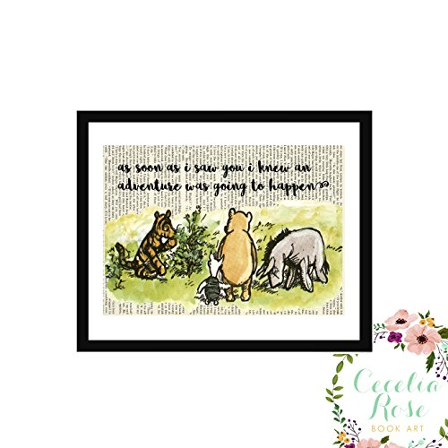 As Soon As I Saw You I Knew An Adventure Was Going To Happen Winnie The Pooh Tigger Piglet Eeyore Christopher Robins Farmhouse Upcycled Book Art 9x11 Box Framed Print