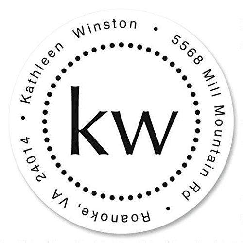 (Simplicity Monogram Personalized Return Address Labels - Set of 144, Round Self-Adhesive, Flat-Sheet Labels, By Colorful Images)